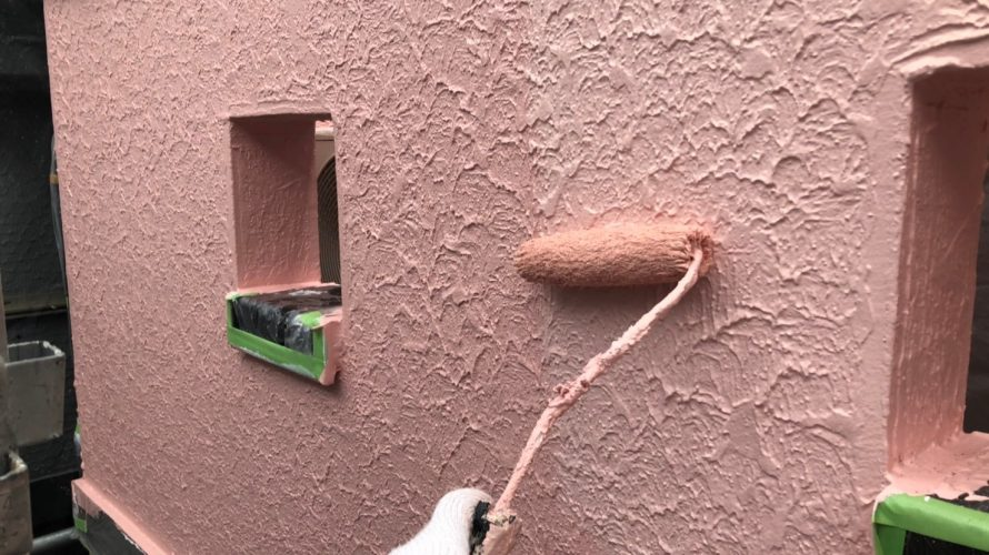 中野区にて外壁塗装 ~外壁の上塗り~